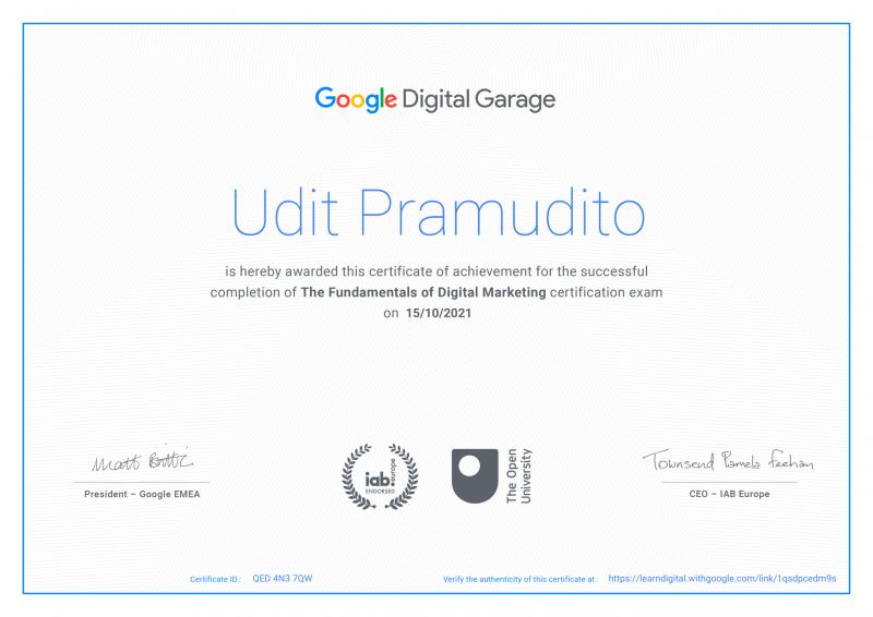 Warak Ngendog Google Certificate